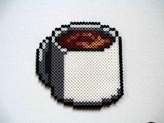 Perler Bead Cup of Coffee Magnet by BeadieEadie