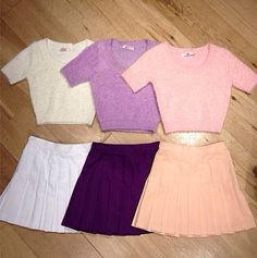 American Apparel- I can't wait to get these. -- -Pleaded skirt-fuzzy crop