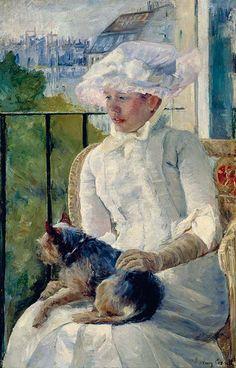 Mary Cassatt | by hauk sven (my note:  Susan on a Balcony Holding a Dog)