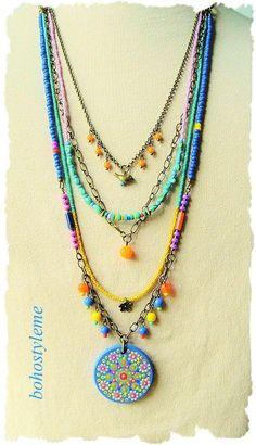 Bohemian Necklace Boho Colorful Beaded Jewelry Hand Painted - new season bijouterie Bohemian Necklace, Bohemian Jewelry, Diy Jewelry, Jewelry Gifts, Beaded Jewelry, Handmade Jewelry, Jewelry Necklaces, Beaded Necklace, Jewelry Design