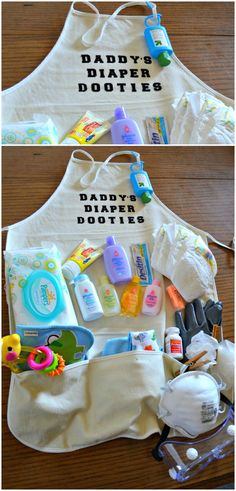 Daddy's Diaper Dooties ~ Packed with diapers, wipes, powder, lotion, soap, Tylenol, gloves, hand sanitizer and more... Fun gift that dad can enjoy and laugh at. great for a co-ed baby shower.