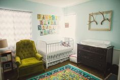 comfortable and colorful nursery-amazing rug!