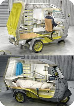 "Based on the classic three-wheeled Piaggio Ape, Industrial designer Cornelius Comanns's ""Bufalino"" camper appears slight at first glace, but its insides are spacious enough to hold a bed, two seating units, a ""cooking zone,"" a sink, a water tank, a refrigerator, several storage compartments, and other creature comforts typically found in larger RV's."