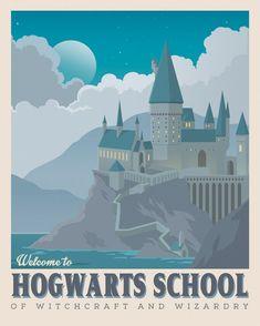 Harry Potter poster, Hogwarts School art, Retro travel poster, Harry potter castle, Albus Dumbledore, Geekery art, Movie poster
