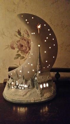 me ~ Vintage Christmas moon village night light. Diy Clay, Clay Crafts, Diy And Crafts, Clay Fairy House, Fairy Garden Houses, Vintage Christmas, Christmas Crafts, Christmas Decorations, Christmas 2019