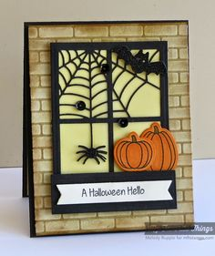 Witch Way Is the Candy? stamp set and Die-namics, Centerpieces Spooky Window Die-namics, Sentiment Strips 2 Die-namics, Small Brick Wall Stencil - Melody Rupple #mftstamps