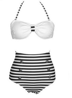 High Waisted Vintage Halterneck Cross Stripe Six Buttons Swimsuit For Women Color: BLACK, BLUE Size: S, M, L, XL Category: Women > Swimwear   Gender: For Women  Material: Polyester  Bra Style: Padded  Support Type: Wire Free  Pattern Type: Striped  Swimwear Type: Bikini  Waist: High Waisted  #wholesalecheapbathingsuit #wholesalebathingsuits #bathingsuit #Stripedbatingsuit #bridgat.com
