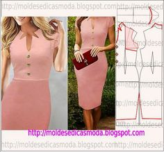 The pink dress, pattern instructions Sewing Dress, Diy Dress, Sewing Clothes, Diy Clothes, Clothing Patterns, Dress Patterns, Sewing Patterns, Diy Fashion, Ideias Fashion