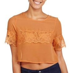 Ali & Kris Juniors Short Sleeve Scoopneck Chiffon Crop Top, Size: Medium, Orange