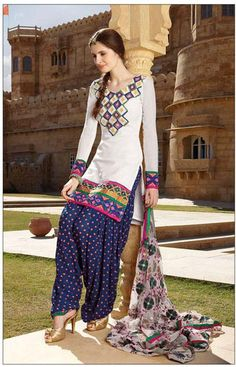 Off White Cotton Full Sleeve Long Designer Salwar Kameez 15853