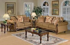 Olysseus Brown Fabric Wood Living Room Set