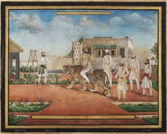 Princes - Nawab of Jhajjar astride a pet tiger in his garden