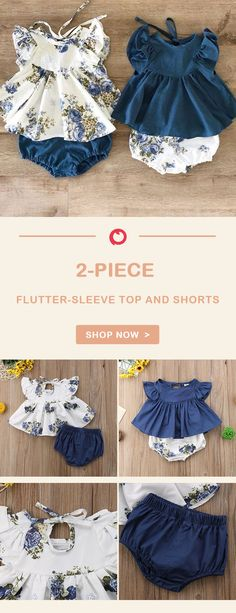 Flutter-sleeve Top and Shorts for Baby Girl Baby Kids Clothes, Doll Clothes, Baby Girl Fashion, Kids Fashion, Stylish Outfits, Kids Outfits, Stylish Clothes, Flutter Sleeve Top, Matching Family Outfits