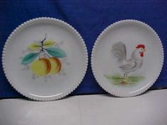 6-WESTMORELAND-MILKGLASS-7-3-8-BEADED-EDGE-HAND-PAINTED-ROOSTER-FRUIT-PLATES