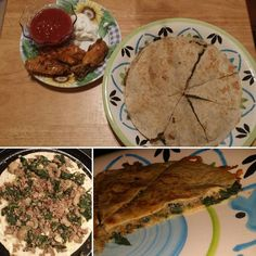 Steak and spinach quesadillas & some wangs...low carb tortillas. Yum!  #lowcarb #lowcarbhighfat #lchf #foodporn #food #yum #steak #spinach #cheese #wings #chicken #yum #getinmybelly #ilovefood #weightloss #diet #weight #push #dinner #hungry #goals #sogood #light #eat #youcandoit #believe #try #startsomewhere #change #goodeats #delicious by diazlis