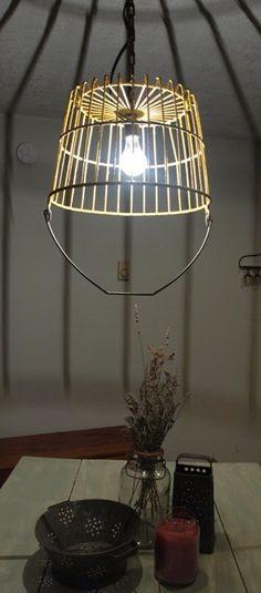 Upcycled vintage egg basket pendant light