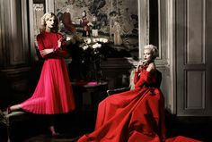 Anja Rubik and Melissa Tammerjin in Dior and Carolina Herrara