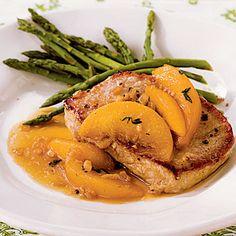 Pork Chops with Bourbon-Peach Sauce Recipe < 25 Healthy Pork Chop Recipes - Cooking Light