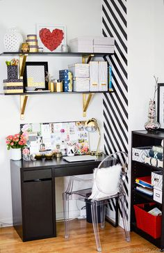 Gorgeous black, white, and gold office space / Homey Oh My! Home Office, Home Decor Inspiration, Diy Shelves, Decor, Funky Home Decor, Home, Interior, Gold Office Space, Home Decor