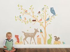 Wall Decals Woodland (Reusable and removable fabric stickers, not vinyl) - Discount set - Earthy Woodland Scene