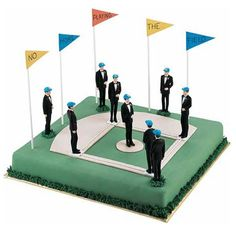 A Diamond for the Groom Cake - Hit it out of the park with A Diamond for the Groom. Ideal for any baseball-loving groom, this cake can be personalized with messages written on the construction paper pennants surrounding the baseball diamond.