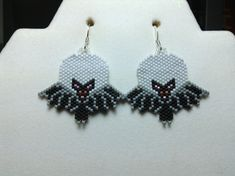 Halloween Bat in the Moon Beaded Earrings by DoubleACreations, $20.00