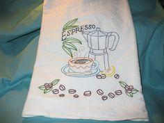 Hand embroidered espresso flour sack kitchen dish towel with coffee bean border.