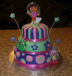 Dora Birthday Cake Dora cake covered in Satin Ice Fondant. I cut-out the Dora and friends figures from a Dora book and them laminated. Dora Birthday Cake, Friends Birthday Cake, Dora Cake, Fall Birthday Parties, 2nd Birthday, Fondant Cakes, Cupcake Cakes, Cupcakes, Birthday Cake Pictures