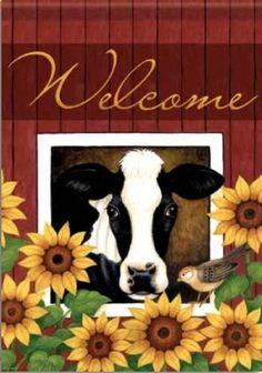 """Farm Sunflower Cow Double Sided Garden Flag 13 X 18"""" by Flag Trends. $7.39. Measures 13"""" x 18"""". Double Sided. Readable from both sides. Sunflower Cow Flag designed by Stephanie Stouffer for Flag Trends. The Flag features a cow with Sunflowers. The background had a barn board effect. It reads WELCOME. The outdoor decorative flag measures 13 x 18"""" and is sleeved to go on a standard garden pole. FlagTrends® Classic outdoor flags feature Dura Soft®, an innovative fabric, designe..."""