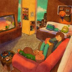 PUUUNG We lied down together on sofa.We absent-mindedly watched TV. Couples Comics, Anime Couples, Love Is Sweet, Cute Love, Couple Illustration, Illustration Art, Korean Illustration, Puuung Love Is, Art Anime