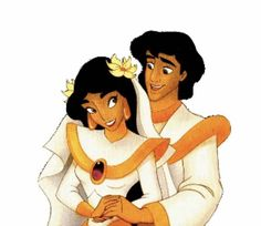 Princess Jasmine and Aladdin on their Wedding Day Disney Pixar, Walt Disney, Disney Characters, Fictional Characters, Princesa Jasmine, Disney Renaissance, Aladdin And Jasmine, Dreamworks, Fairy Tales