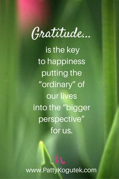 Gratitude...the key to happiness! http://pattykogutek.com/inspirational-insights/