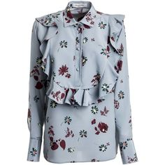 St Flowers Fall Blouse ($1,475) ❤ liked on Polyvore featuring tops, blouses, blue, womenclothingshirts, blue blouse, long sleeve tops, blue top, long sleeve blouse and flower blouse
