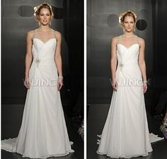 http://www.dhgate.com/product/2015-custom-made-white-wedding-dresses-a/211278529.html 2015 Custom Made White Wedding Dresses A Line Chiffon Sweetheart Lace Up Sleeveless Sweep Train Ruched Crystal Belt Bridal Gown New Arrival