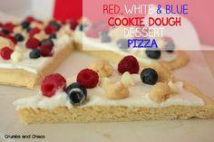 Red, White & Blue Cookie Dough Dessert Pizza