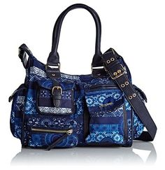 #Desigual Tasche - Modell Bols London Barbados. Muster:  ethnisch und Mandala, blau.