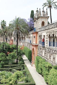 Gardens at the Alcazar in Seville Spain