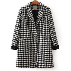 Black White Long Sleeve Houndstooth Coat | pariscoming