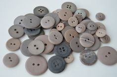 Neutral Colored Buttons - Varied sizes, shades and styles x 55 by Boxtreasures on Etsy
