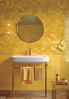 Interior Decor Hashtags 5 Striking Tiles Cover Floors and Walls New Interior Design, Interior Design Magazine, Bathroom Interior Design, Interior Decorating, Yellow Tile, Tile Covers, Yellow Bathrooms, Mellow Yellow, Bright Yellow