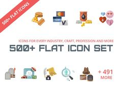 The Flat Icon Set consists of 500+ Modern and Amazing Flat Icon with every industry, profession, crafts and daily life icons.We have crafted the perfect icons for you to use anywhere .We believe that when you buy something , you should invest one time and get everything you need instead of getting d