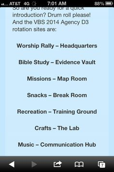 Titles for D3 Secret Agent VBS 2014 rotation sites.