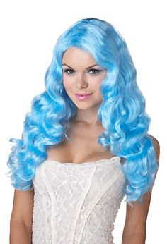 Blue Wavy Long Adult Wig - available now at Teezers Costumes! Mermaid wig?