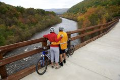 You'll want to stop and take in the scenery along the 25-mile Lehigh Gorge bike trail!