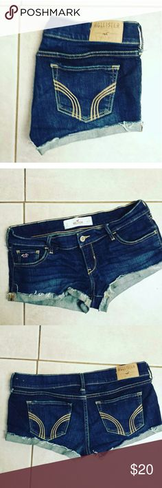 Hollister Shorts Like new condition. Size 27 (5) Hollister Shorts. Dark wash. Price firm here unless bundled. $20 free ship on merc. Hollister Shorts Jean Shorts