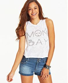 Pretty Rebellious Juniors  Monday Graphic Muscle Tee Juniors - Tops - Macy s f9f2ed7a0