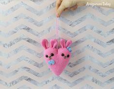 Bunny heart amigurumi pattern designed by Amigurumi Today