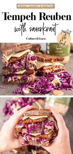 Reuben sandwiches are way better vegan! We left out the animal ingredients and used marinated tempeh for this sandwich. With fermented sauerkraut, this Vegan Tempeh Reuben is a healthy sandwich choice. #vegan #tempeh #sandwich