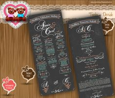 Custom Wedding Program chalk board typographic style classic rustic cottage chic Typography theme card clipart - printable file (w0020), by TeeshaDerrick at http://www.etsy.com/shop/TeeshaDerrick