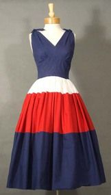 AWESOME Red, White & Blue Cotton 1950's Sun Dress
